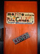 Information sign on the door of a restaurant, Providencia, Providencia y Santa Catalina, San Andres y Providencia Department, Colombia