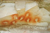Hand signs on a rock, Cave of the Hands, Pinturas River, Patagonia, Argentina