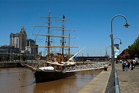 Tall ship in the sea, Corbeta Uruguay, Puerto Madero, Buenos Aires, Argentina