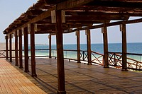 Wooden structure on a boardwalk, Cancun, Mexico