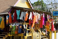 Clothes hanging at a market stall, West End, Roatan, Bay Islands, Honduras (thumbnail)