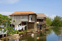 Houses at the riverside, Honduras