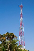 Low angle view of a communication tower, Roatan, Bay Islands, Honduras (thumbnail)