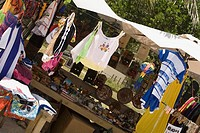 Market stall on the beach, West Bay Beach, Roatan, Bay Islands, Honduras