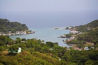 High angle view of buildings at the seaside, Jonesville, Roatan, Bay Islands, Honduras