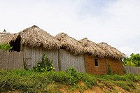 Low angle view of huts in a row, French Harbour, Rotan, Bay Islands, Honduras