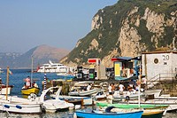 Boats at the dock, Marina Grande, Capri, Campania, Italy