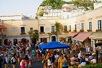 Tourists at sidewalk cafes, Capri, Campania, Italy