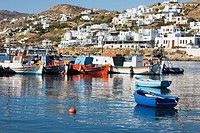 Boats in the sea, Mykonos, Cyclades Islands, Greece