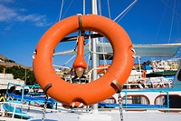 Life belt on a boat, Patmos, Dodecanese Islands, Greece (thumbnail)