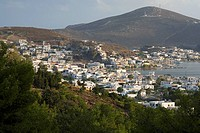 High angle view of a cityscape, Skala, Patmos, Dodecanese Islands, Greece (thumbnail)
