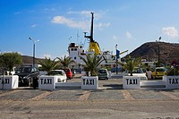 Taxi at a taxi stand in a city, Patmos, Dodecanese Islands, Greece