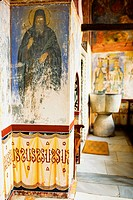 Mural on the wall of a church, Monastery of St  John the Divine, Patmos, Dodecanese Islands, Greece