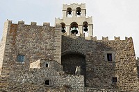 Low angle view of a church, Monastery of St  John the Divine, Patmos, Dodecanese Islands, Greece