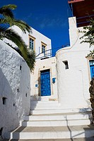 Low angle view of the entrance of a building, Patmos, Dodecanese Islands, Greece