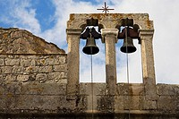 Low angle view of bells of a church, Patmos, Dodecanese Islands, Greece
