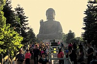 Low angle view of tourists visiting a monastery, Tian Tan Buddha, Po Lin Monastery, Ngong Ping, Lantau, Hong Kong, China