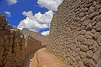 Old ruins of a stone wall, Pisaq, Cuzco, Peru