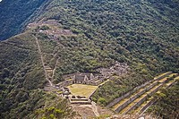 High angle view of ruins of buildings on mountains, Choquequirao, Inca, Cusco Region, Peru