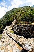 Canal on a mountain, Choquequirao, Inca, Cusco region, Peru