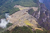 High angle view of ruins on mountains, Mt Huayna Picchu, Machu Picchu, Cusco Region, Peru
