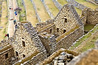 High angle view of the old ruins, Machu Picchu, Cusco Region, Peru