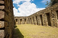 Old ruins of buildings, Choquequirao, Inca, Cusco Region, Peru