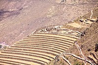 High angle view of a terraced field, Pisaq, Urubamba Valley, Peru