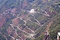 High angle view of a road on mountains, Machu Picchu, Cusco Region, Peru