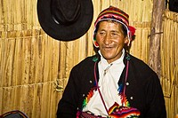 Close-up of a senior man smiling, Taquile Island, Lake Titicaca, Puno, Peru
