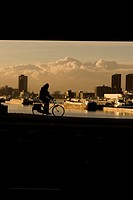 Silhouette of man cycling along the Maas River, Rotterdam, the Netherlands