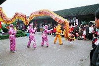 Dragon dance performance of Zhouzhuang´s south lakefront, Zhouzhuang Town, Kunshan City, Jiangsu Province of People´s Republic of China, FOR EDITORIAL...