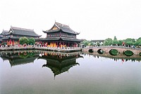 Reflection of shrine in lake, Zhouzhuang Town, Kunshan City, Jiangsu Province of People's Republic of China, FOR EDITORIAL USE ONLY