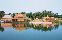 View of a shrine by canal, Xinglong hot spring resort area, Wanning City, Hainan Province of People´s Republic of China