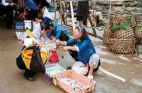 Women selling fish in Dazuo Village, Chongwu Town, Huian County, Fujian Province, People's Republic of China, FOR EDITORIAL USE ONLY