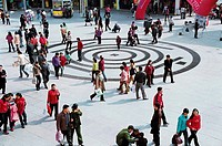 People walking in plaza in Putian City, Fujian Province, People´s Republic of China, FOR EDITORIAL USE ONLY