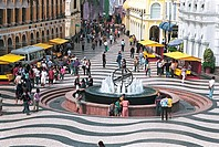 View of tourists at official business square in front of argument matter Pavilion, Macao special administration region of People´s Republic of China, ...