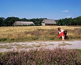 Germany, Bispingen, Bispingen-Haverbeck, nature reserve Lueneburg Heath, Lower Saxony, young woman with her dog in the Lueneburg Heath, farm houses in...
