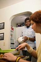 Young inter_racial couple preparing food together