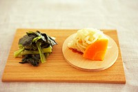 Cooked vegetables on wooden board
