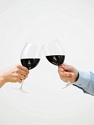 Man and woman toasting with red wine, close-up of hands, side view