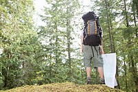 Man standing on cliff in forest with backpack and trail map, rear view