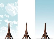 Eiffel Tower on three different sky backgrounds