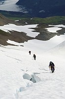 Men mountaineering on glacier