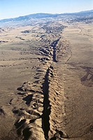 San Andreas Fault easily visible at surface on Carrizo Plain. South California, USA