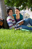 Young couple outdoors studying by tree, smiling, portrait, low angle view