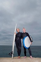 Male and female surfers in wetsuits by beach, low angle view
