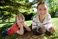 Girl 7-9 and boy 4-6 lying on grass with hedgehog, smiling, portrait
