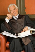 Portrait of a lawyer sitting in an armchair with a file in his lap