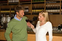 Mid adult couple standing at a bar counter and toasting with wine glasses in a bar